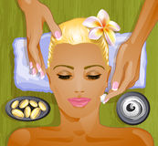 Facial treatment. Attractive blond woman. Facial treatment Royalty Free Stock Photos