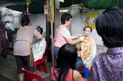 Facial treatment on street Royalty Free Stock Images