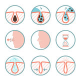 Facial treatments icons. Treatment of skin diseases, sebum removal and pores cleaning vector illustration. Facial treatments colored icons. Treatment of skin Royalty Free Stock Photos