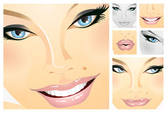 Facials of a girl. Facial parts of a beautiful girl, different expressions. Every tile can be used isolated. Or exchange the tiles, if you want. File includes Stock Images