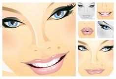 Facials of a girl stock images