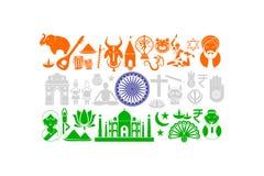 Drapeau indien avec l'objet culturel illustration stock