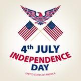 Facile pubblicare l'illustrazione di vettore dell'aquila con la bandiera americana per la festa dell'indipendenza Fotografie Stock Libere da Diritti