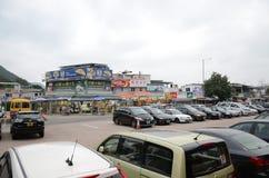 Facilidade e lojas de estacionamento na praia de Shek O, Hong Kong Foto de Stock Royalty Free