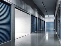 Facilità di stoccaggio con le porte blu Portello aperto rappresentazione 3d Fotografie Stock