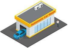 Faciliteiten van de autowasserette de volledige automatische 24h dienst met touchless materiaal Automatische Autowasserette Vlakk Stock Foto's
