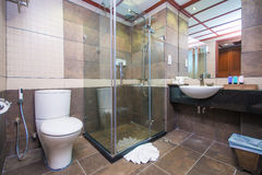 Facilities in bathroom. Facilities in clean and bright bathroom royalty free stock images