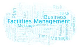 Facilities Management word cloud, made with text only. Facilities Management word cloud, made with text only royalty free illustration