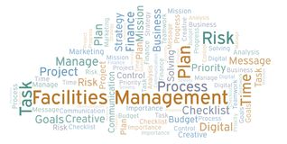 Facilities Management word cloud, made with text only. Facilities Management word cloud, made with text only stock illustration