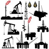 Facilities for oil production. The contours of the oil industry facilities. Illustration on the production and sale of natural resources. Illustration on white Stock Photo