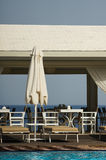 Facilities for summer holyday. Pool restaurant near the beach Royalty Free Stock Image