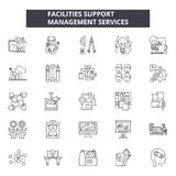 Facilities support line icons, signs set, vector. Facilities support outline concept, illustration: support,concept. Facilities support line icons, signs set stock illustration