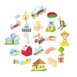 Facility icons set, cartoon style. Facility icons set. Cartoon set of 25 facility vector icons for web isolated on white background Royalty Free Stock Photos