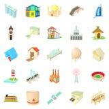 Facility icons set, cartoon style Stock Photos