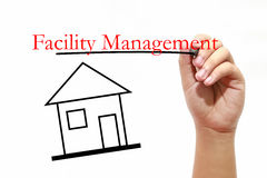 Facility Management - House with text and male hand with pen. House with text and male hand with pen Royalty Free Stock Photos