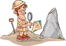Facing archaeologists map Royalty Free Stock Image