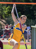 Facing the Bar. City of Shasta Lake, California. Track and field action at the Burt Williams Track and Field Classic Stock Photos