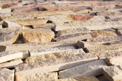Facing brick travertine marble. Facing brick travertine orange marble Royalty Free Stock Photography