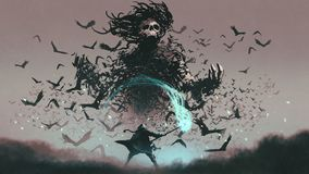 Facing the devil of crows. Fight scene of the man with magic wizard staff and the devil of crows, digital art style, illustration painting stock illustration