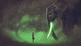 Facing the legendary elephant. Young woman facing the giant elephant with glowing green tusks, digital art style, illustration painting stock illustration