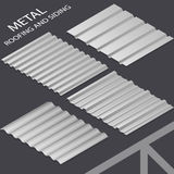 Facing materials. Metal roofing and siding, profiled sheeting. Vector illustration Stock Image
