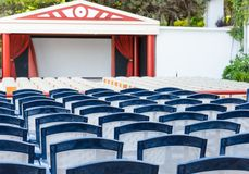 Facing a number of seats in the concert hall in the open air Royalty Free Stock Image