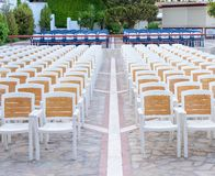 Facing a number of seats in the concert hall in the open air Stock Photo
