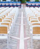 Facing a number of seats in the concert hall in the open air Royalty Free Stock Photo
