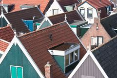 Facing the roofs of an Dutch old pittoresk village Stock Photo