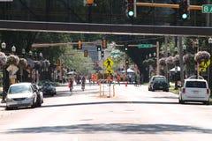Facing south on Broadway in Fargo, North Dakota Royalty Free Stock Images