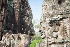 Facing of statue bayon face at Bayon temple in Siem Reap, Cambodia. View of facing of statue bayon face at Bayon temple in Siem Reap, Cambodia stock photography