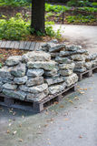 Facing stones on a pallet Royalty Free Stock Image