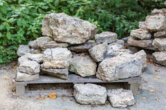 Facing stones on a pallet Royalty Free Stock Images