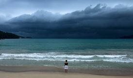 Facing the storm royalty free stock photography