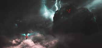 Free Facing The Giant Monster On The Clouds, Humans Are Digitally Painting Royalty Free Stock Image - 186314376