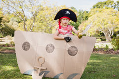 Facing view of boy dressing up as pirate Stock Photography