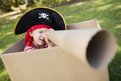 Facing view of little boy pretending to be a pirate Royalty Free Stock Photos