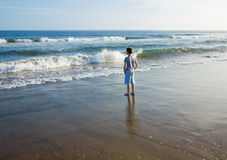 Facing the waves Royalty Free Stock Photo