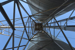 Fack och material till byggnadsställning för kornhiss i centrala Washington Arkivfoton