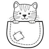 Fackkatt Barnsligt tryck med pott för t-skjorta Svartvit vektorillustration för färgläggningbok stock illustrationer
