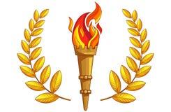 Facklan med bränningbrand, guld- lagerfilial royaltyfri illustrationer