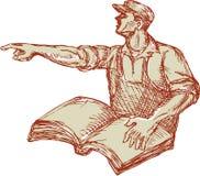 Facklig arbetare för aktivist som pekar bokteckningen vektor illustrationer