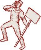 Facklig arbetare för person som protesteraraktivist som ropar plakatetsning vektor illustrationer