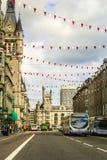 Facklig gata med härlig gammal arkitektur i Aberdeen, Skottland, UK, 13/08/2017 Arkivbild