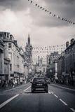 Facklig gata med härlig gammal arkitektur i Aberdeen, Skottland, UK, 13/08/2017 Royaltyfri Foto