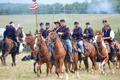 Facklig kavallerireenactment Arkivbild