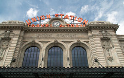 Facklig station i i stadens centrum Denver, Colorado Fotografering för Bildbyråer