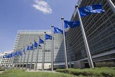 fackliga brussels europeiska flaggor Arkivbilder