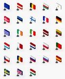 fackliga europeiska flaggor stock illustrationer