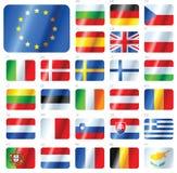 fackliga europeiska flaggor för knappar som ställs in Royaltyfri Fotografi